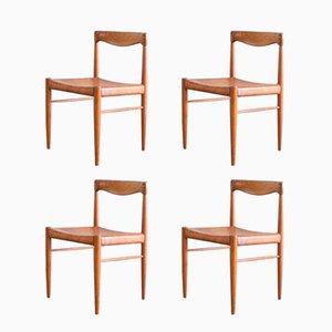 Vintage Stühle aus Teak mit Cognac Leder von H.W. Klein für Bramin, 4er Set