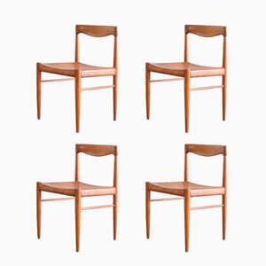 Vintage Teak Chairs with Cognac Leather by H.W. Klein for Bramin, Set of 4