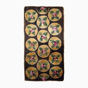 Handgefertigter Antiker Amerikanischer Hooking Teppich, 1900er