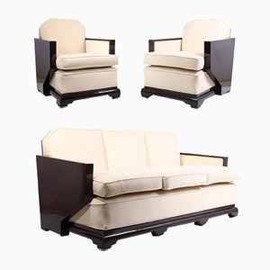 Art Déco Lounge Set aus Nussholz, 1930er