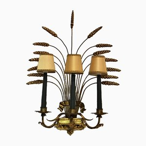 Vergoldete Vintage Wandlampe in Mais-Optik