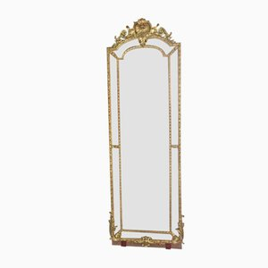 19th Century Mirror with Beadwork in Gilt Wood