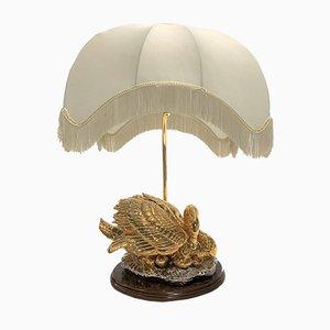 Lampada da tavolo Swan in ottone, anni '60
