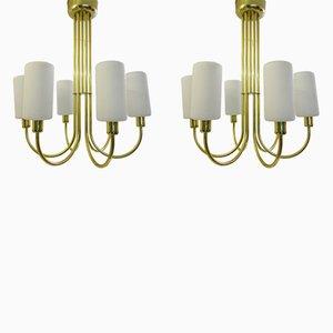 Lámparas de techo de latón, años 60. Juego de 2