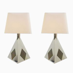 Chrome Pyramid Table Lamps, 1970s, Set of 2