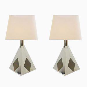 Lampes de Bureau Pyramide en Chrome, 1970s, Set de 2