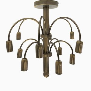 Vintage Brass Chandelier by Gaetano Sciolari for Boulanger, 1960s