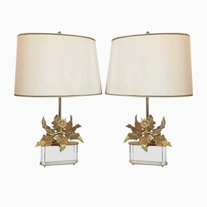 Bronze Thistle Lamps, 1970s, Set of 2