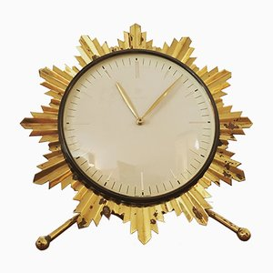 German Sunburst Table Clock from Junghans, 1950s