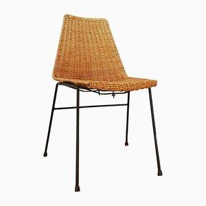 Italienischer Stuhl aus Korbgeflecht mit Stahlrahmen, 1950er