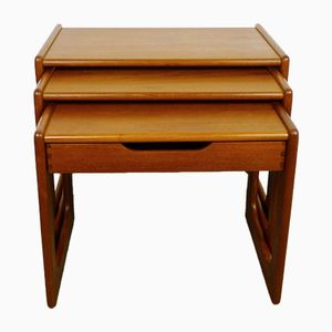 Tavoli ad incastro in teak con cassetto di Salin Mobler, anni '60, set di 3