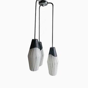 Lámpara colgante triple 6600 en blanco y negro de ESC Zukov, años 60