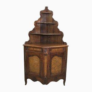 Mueble esquinero de roble y olmo nudoso, años 50