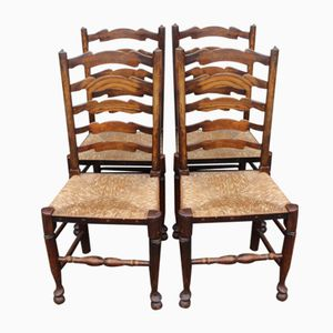 Ladder Back Dining Chairs, 1920s, Set of 4