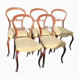 Balloon Back Dining Chairs, 1920s, Set of 5