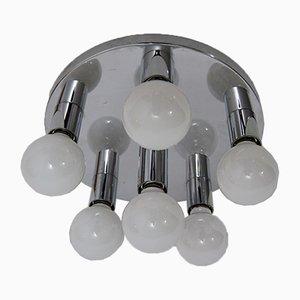 Lámpara de techo era espacial cromada, años 70