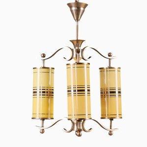 Art Deco Ceiling Lamp with Yellow Glass