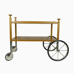 Mid-Century Rollwagen aus Nussholz von Wilhelm Renz