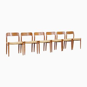 Model 75 Dining Chairs by Niels O. Møller for J.L. Møllers, 1960s, Set of 6