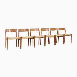 Sedie da pranzo nr. 75 di Niels O. Møller per J.L. Møllers, anni '60, set di 6