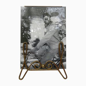 Cornice per foto Art Nouveau antica in ottone