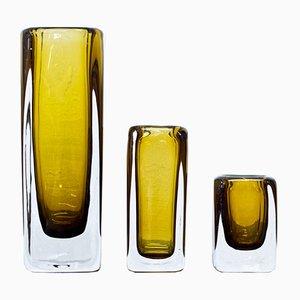 Schwedische Glasvasen aus Kristallglas von Vicke Lindstrand für Kosta, 1950er, 3er Set