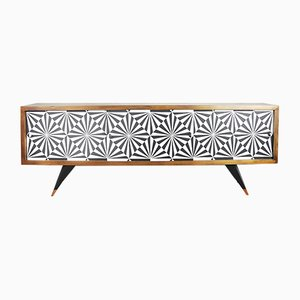 Mid-Century Sideboard with Op-Art Pattern, 1960s