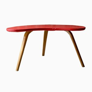 Red Tripod Coffee Table from Steiner, 1950s