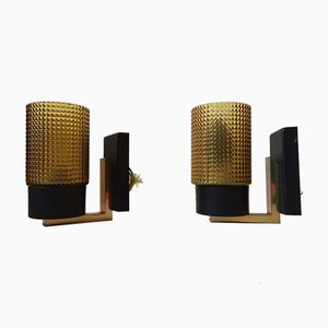 Mid-Century Glass & Brass Sconces, 1960s, Set of 2