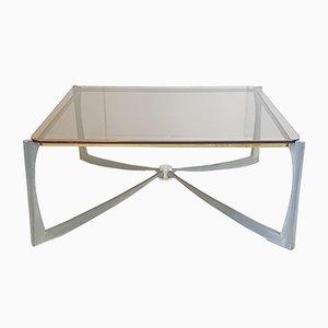 Mesa de centro vintage de aluminio, latón y cristal ahumado