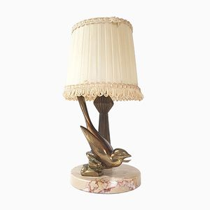 Art Deco Bird-Shaped Table Lamp in Bronze & Marble, 1930s