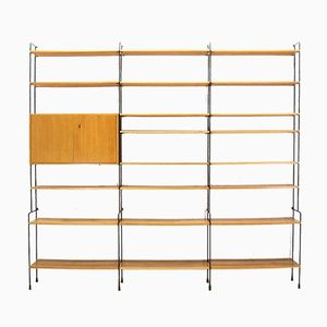 Large Ash Veneer Omnia Shelving Unit from Hilker, 1960s