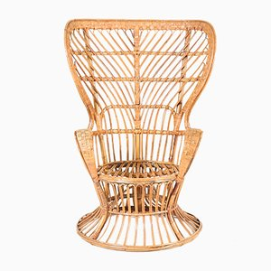 Mid-Century Modern Rattan Wingback Chair by Lio Carminati for Bonacina