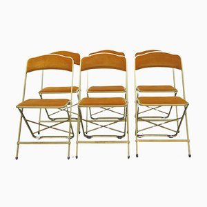 Vintage French Bistro Folding Chairs, 1970s, Set of 6