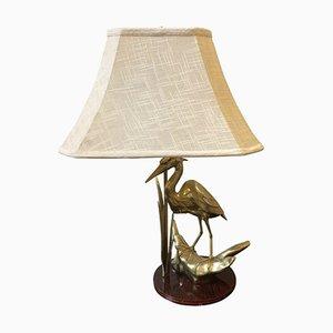 Italienische Tischlampe aus Messing mit Säule in Flamingo-Optik, 1950er