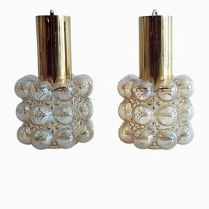 Lámparas colgantes vintage de cristal burbuja de Helena Tynell para Limburg. Juego de 2