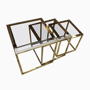 Tables d'Appoint Carrées Modulables Modernes Mid-Century en Laiton, Italie, 1960s, Set de 3