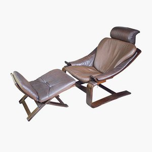 Kroken Leather Armchair with Footstool by Åke Fribytter for Nelo, 1970s