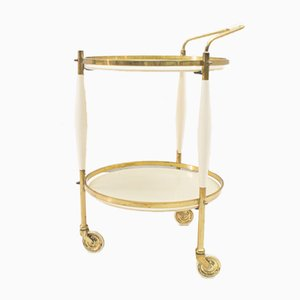 Hollywood Regency Serving Trolley in Gold & White, 1950s