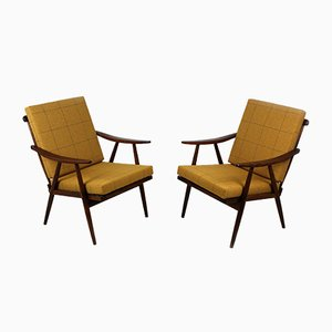 Wooden Boomerang Armchairs with Double-Sided Checkered Pillows from TON, 1970s, Set of 2
