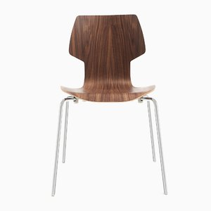 Walnut and Chrome Gràcia Chair by Mobles114