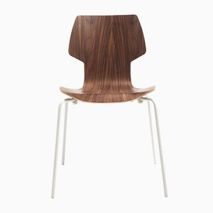 Gràcia Chair in Walnut with White Legs by Mobles114