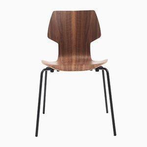 Gràcia Stuhl aus Nussholz mit schwarzen Beinen von Mobles114