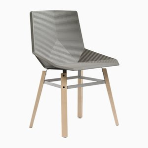 Wood Chair with Beige Seat by Mobles114