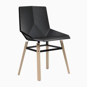 Silla de madera con asiento negro de Mobles114