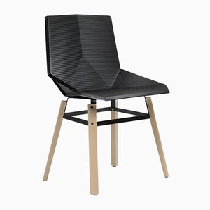 Wood Chair with Black Seat by Mobles114