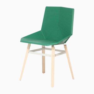 Sedia verde con gambe in legno di Mobles114