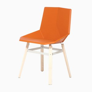 Orange Chair with Wooden Legs by Mobles114
