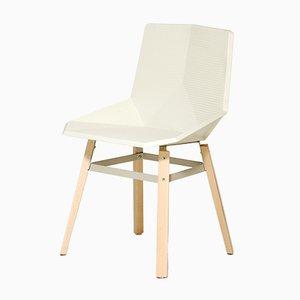 Sedia bianca con gambe in legno di Mobles114