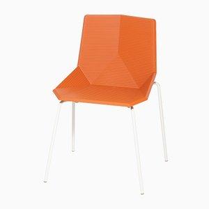 Sedia da giardino arancione con gambe in acciaio di Mobles114
